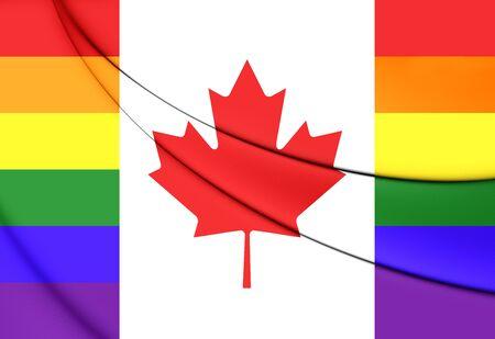 bandera gay: La bandera de Canadá Gay. De cerca. Vista frontal.