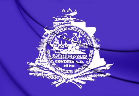 city coat of arms: 3D Flag of Charleston (South Carolina), USA.