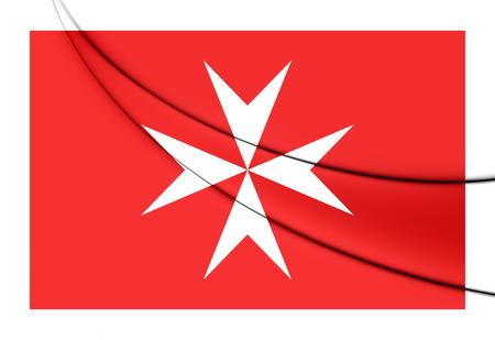 ensign: 3D Civil Ensign of Malta. Close Up.