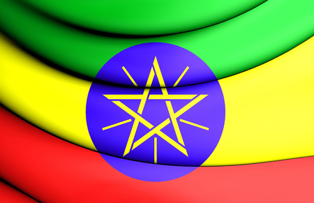 close up: 3D Flag of the Ethiopia. Close Up. Stock Photo