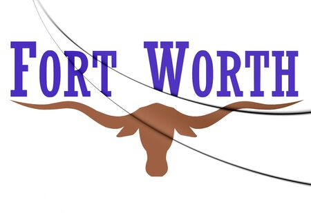 worth: 3D Flag of Fort Worth, Texas. Close Up.