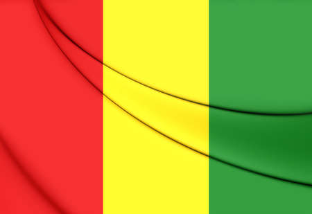 close up: 3D Flag of the Guinea. Close Up. Stock Photo