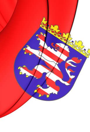 close up: 3D Flag of Hessen, Germany. Close Up.