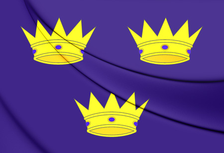 munster: 3D Flag of Munster Province, Ireland. Close Up. Stock Photo