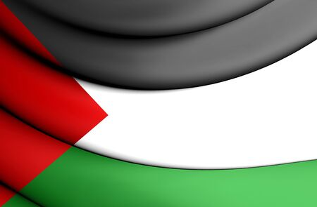 3D Flag of the Palestine. Close Up.