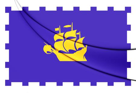 quebec: 3D Flag of Quebec City, Canada. Close Up.