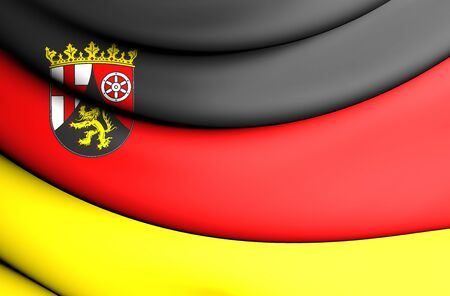 close up: 3D Flag of Rhineland-Palatinate, Germany. Close Up.