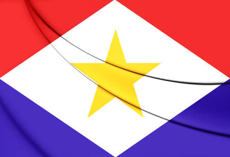 saba: 3D Flag of Saba, Netherlands. Close Up.