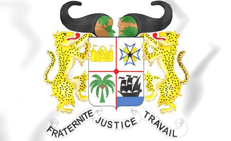 3D Benin Coat of Arms. Close Up. Stock Photo