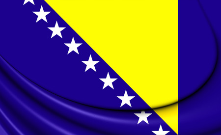 bosnia: 3D Flag of the Bosnia and Herzegovina. Stock Photo
