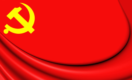 communist: 3D Flag of Chinese Communist Party. Close Up. Stock Photo