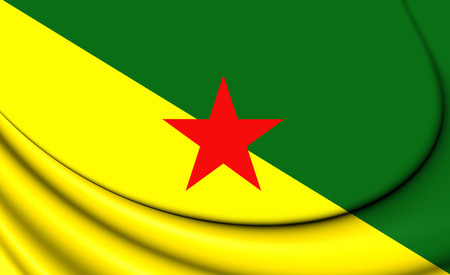 overseas: 3D Flag of French Guiana. Close Up.
