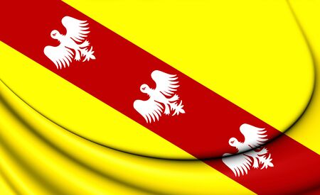 blason: 3D Flag of Lorraine, France. Close Up.