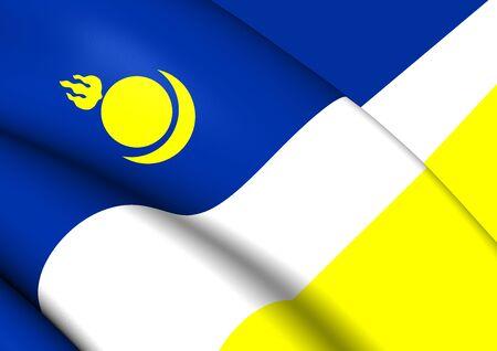 buryatia: 3D Republic of Buryatia Flag, Russia. Close Up.