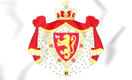 norway: 3D Norway Coat of Arms. Close Up.