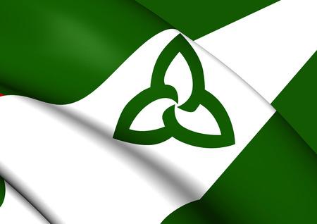 ontario: 3D Flag of Ontario (Green Ensign), Canada. Stock Photo