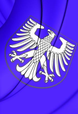 bavaria: 3D Flag of Schweinfurt (Bavaria), Germany. Close Up.