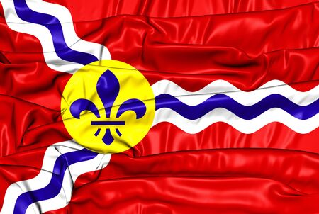 st louis: 3D Flag of St. Louis (Missouri), USA.