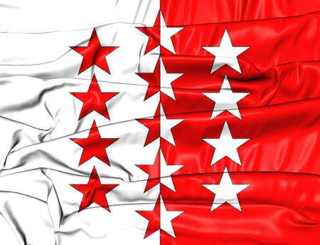 canton: 3D Flag of Valais Canton, Switzerland. Close Up.