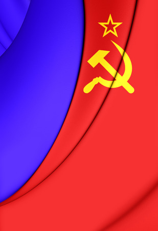 socialist: 3D Flag of the Russian SFSR (1954-1991). Close Up.
