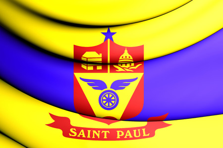 paul: 3D Flag of Saint Paul, Minnesota, USA. Stock Photo