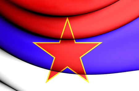 socialist: 3D Flag of Socialist Republic of Serbia (1943-1992).
