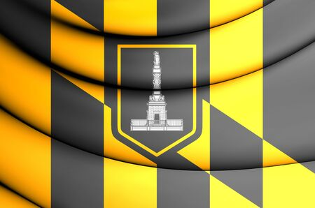 maryland: 3D Flag of Baltimore (Maryland), USA. Close Up.