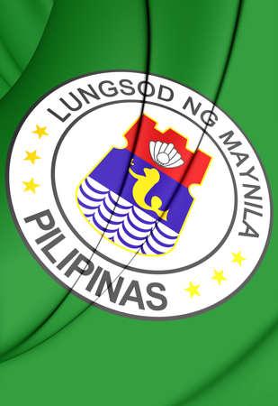manila: 3D Flag of Manila, Philippines. Close Up.