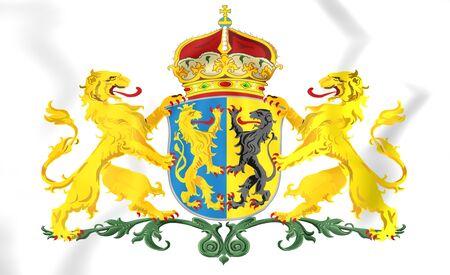 province: 3D Gelderland Province Coat of Arms, Netherlands.