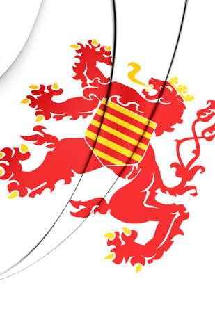 limburg: 3D Flag of Limburg Province, Belgium. Close Up.