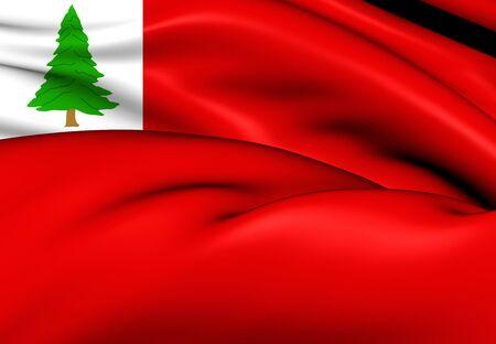 new england: 3D Flag of New England (Pine), USA. Stock Photo