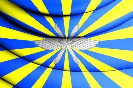 the federation: Air Force of the Russian Federation 3D Flag. Close Up. Stock Photo