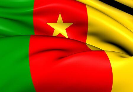 republique: 3D Flag of the Cameroon. Close Up.