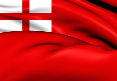 former: 3D English Red Ensign (1620). Close Up. Stock Photo
