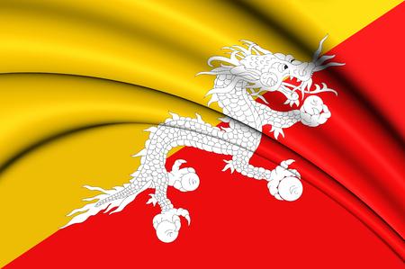 bhutan: 3D Flag of the Bhutan. Close Up. Stock Photo