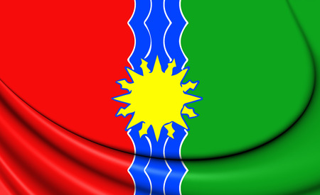 oblast: 3D Flag of Bratsk (Irkutsk Oblast), Russia.