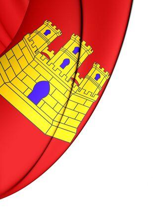 castilla: 3D Flag of Castile-La Mancha, Spain. Close Up.
