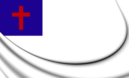 christendom: Christian 3D Flag. Close Up. Stock Photo