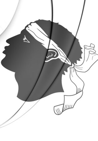 corsica: 3D Flag of Corsica, France. Close Up.