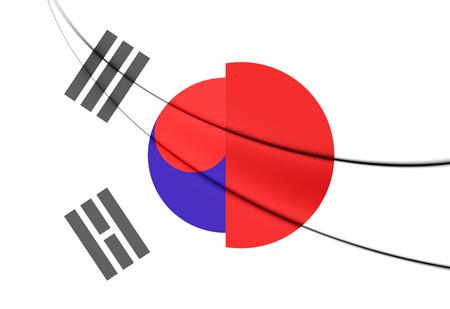 south korea: 3D Flag of Japan and South Korea.