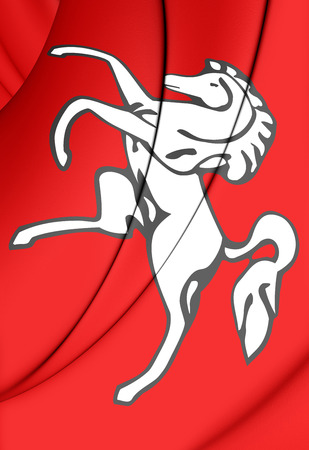 kent: 3D Flag of Kent County, England. Close Up. Stock Photo
