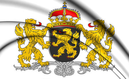 province: 3D North Brabant Province Coat of Arms, Netherlands.