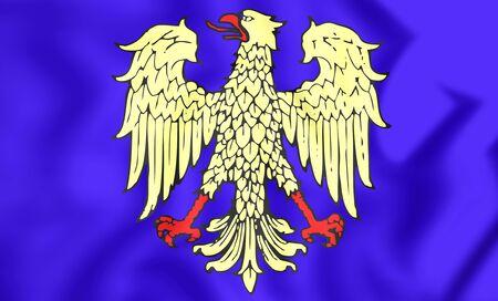 region: 3D Flag of Friuli Region, Italy. Close Up. Stock Photo