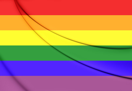 flutter: Gay Pride Flag. 3D Illustration. Stock Photo