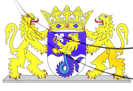 flevoland: Flevoland Coat of Arms, Netherlands. 3D Illustration. Stock Photo