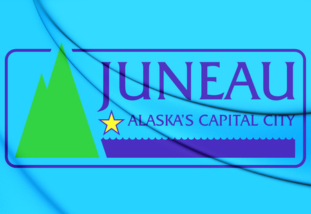 borough: 3D Flag of Juneau, Alaska. 3D Illustration. Stock Photo