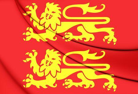 Flag of Normandy, France. 3D Illustration.