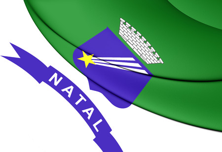 natal: 3D Flag of Natal, Brazil. Close Up.