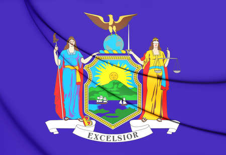 new york state: 3D Flag of New York State, USA. 3D Illustration.