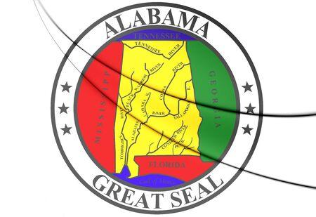 alabama: State Seal of Alabama, USA. 3D Illustration. Stock Photo
